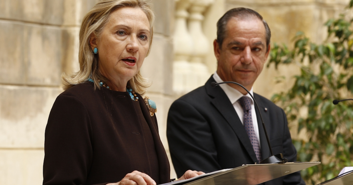 U.S. Secretary of State Hillary Clinton and Maltese Prime Minister Lawrence Gonzi give a press conference on October 18, 2011 in Valletta after their meeting on the situation in Libya. The Mediterranean island state is the closest European country to Libya and has been a center for humanitarian aid efforts and the evacuation of workers from the strife-torn country.</p>