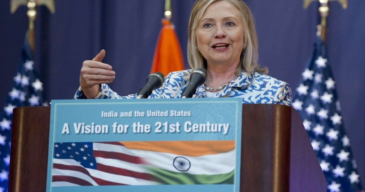 Clinton speaks at the Anna Centenary Library in Chennai on July 20, 2011, where she urged India to play more of a leadership role in Asia.</p>