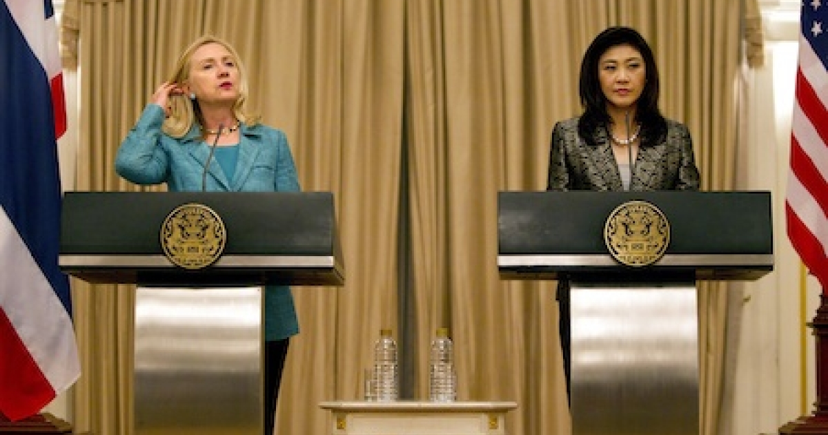 U.S Secretary of State Hillary Clinton meets with Thai Prime Minister Yingluck Shinawatra during a joint press conference November 16, 2011 in Bangkok, Thailand. Clinton is in Thailand to offer support in confronting the country's massive flooding.</p>