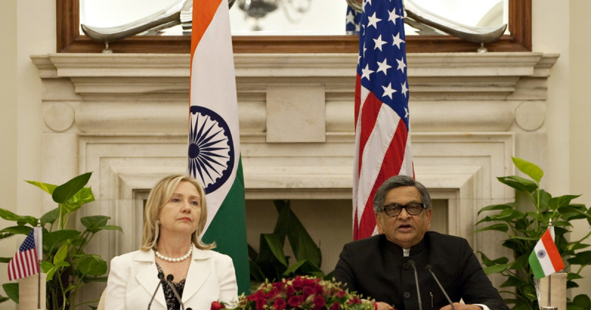 US Secretary of State Hillary Clinton and Indian Foreign Minister S.M. Krishna hold a joint press conference during the US-India Strategic Dialogue at Hyderabad House in New Delhi on July 19, 2011. US Secretary of State Hillary Clinton called for deeper regional security cooperation and trade ties in talks with Indian leaders, held in the shadow of triple bomb blasts in Mumbai. India's concerns over the US troop drawdown in Afghanistan and New Delhi's renewed peace talks with arch-rival Pakistan are expected to figure in the