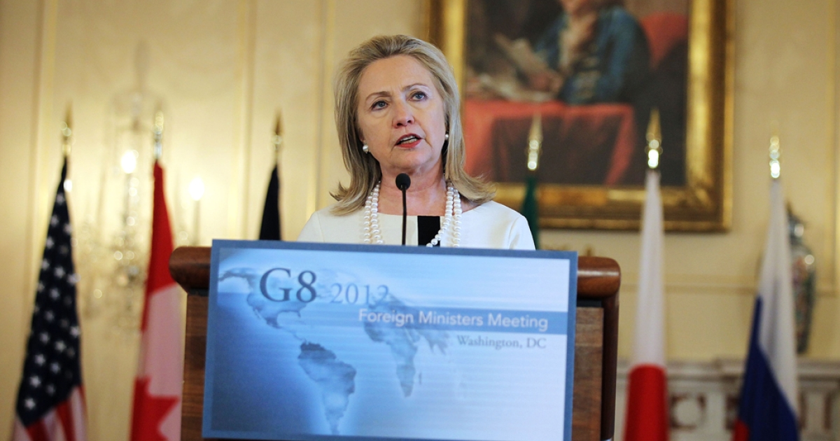 US Secretary of State Hillary Clinton speaks during a press availability at the conclusion of the G8 Ministerial April 12, 2012 at the Blair House in Washington, DC.</p>