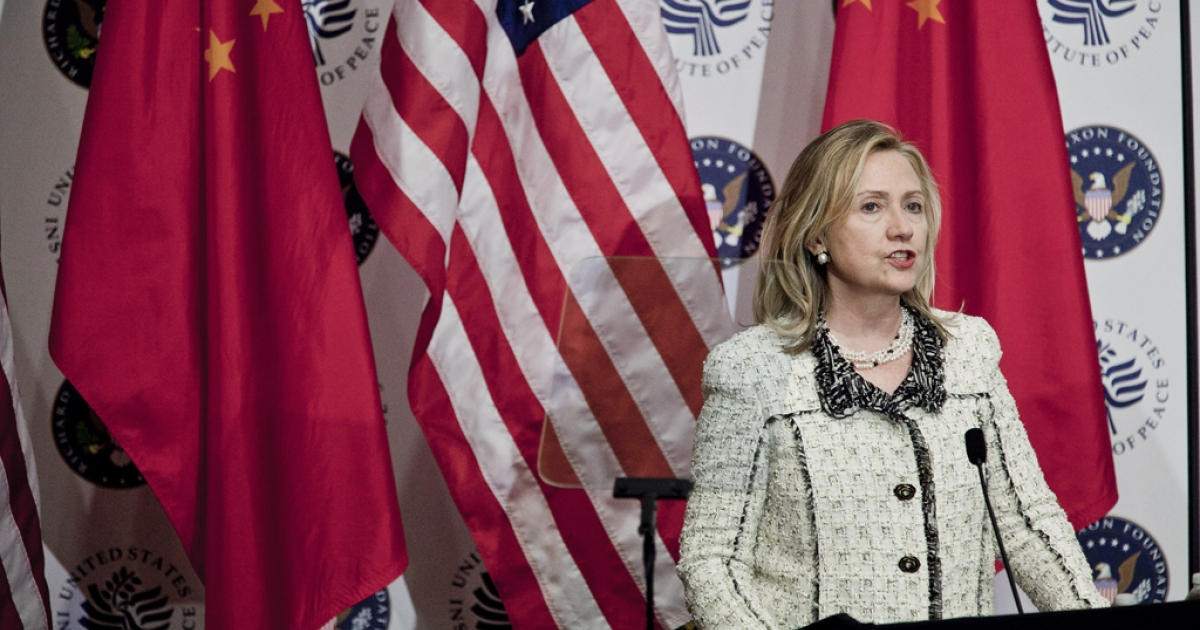 Secretary of State Hillary Clinton delivers an address to the US-China Conference at the US Institute of Peace on March 7, 2012 in Washington, D.C.</p>