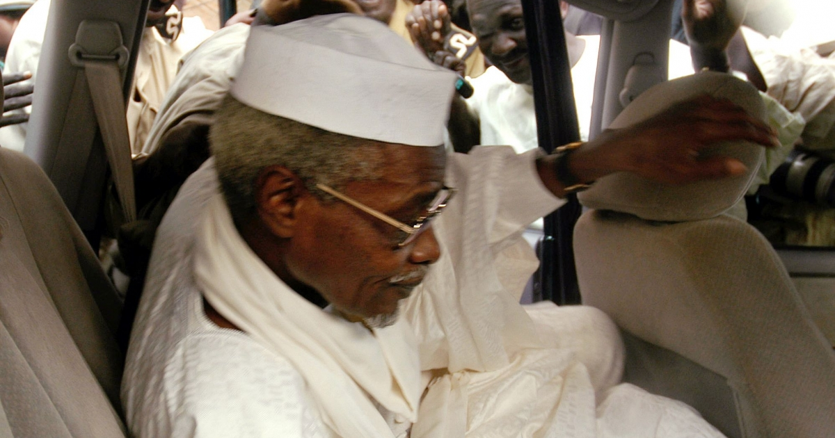 Chad's ex-dictator Hissène Habré leaves Dakar's courthouse in November 2005, after the court disqualified itself from ruling on an extradition request from Belgium.</p>