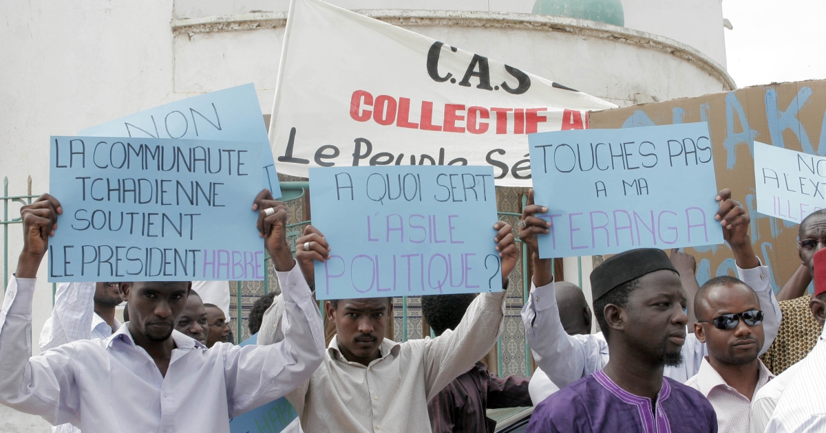 Supporters of Chad's deposed leader Hissene Habre hold a demonstration against his extradition in Dakar on July 10, 2011. Senegal has refused to send the former dictator to Belgium or Chad to stand trial.</p>