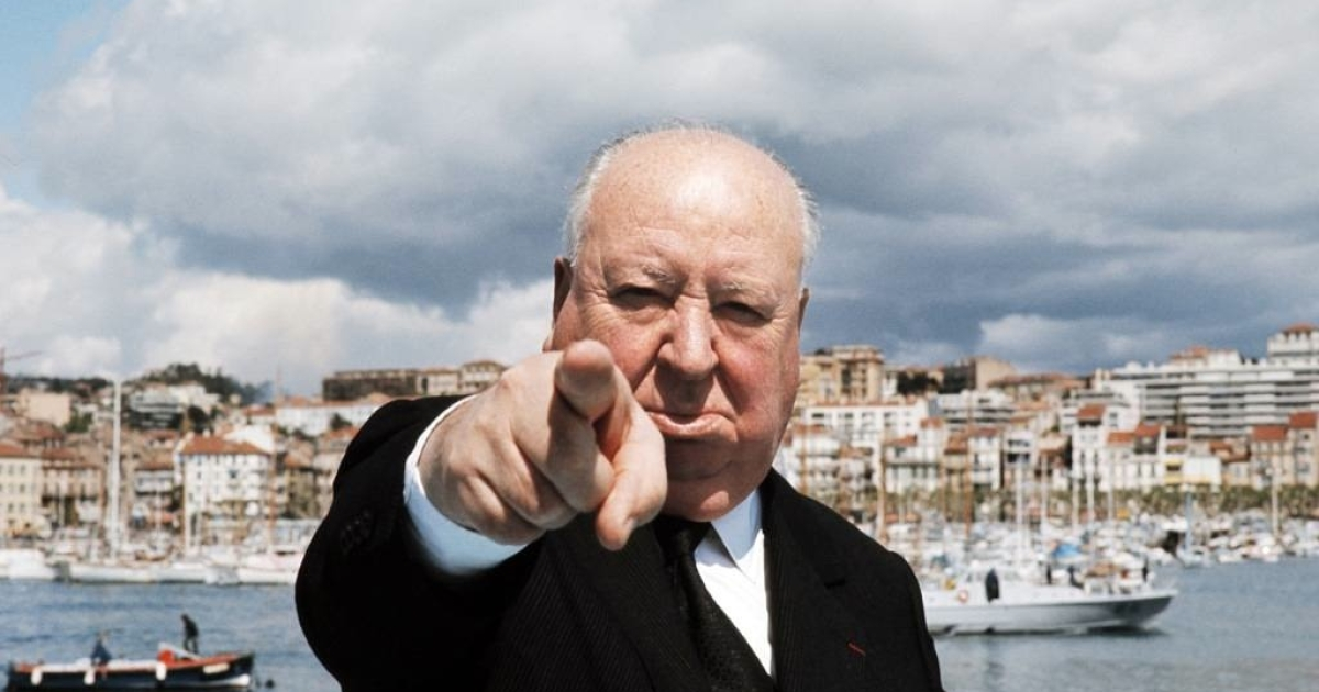 Picture taken in May 1972 of British film director Alfred Hitchcock (1899-1980) posing on a boat in Cannes before the international film festival.</p>