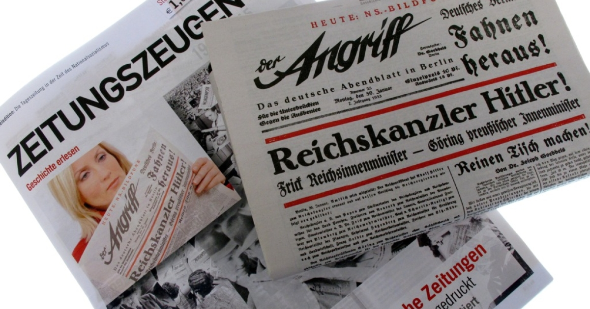 The Zeitungszeugen, a newspaper that reprints Nazi-era propaganda, on Jan. 5 published images of the newspaper 'Der Angriff' (The Attack), issued on Jan. 30, 1933. British publisher Peter McGee, who says the Nazi reprints are for educational purposes, is planning to publish excerpts of German dictator Adolf Hitler's virulently anti-Semitic pamphlet