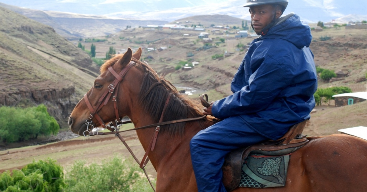 Potso Seoetoe on his horse Kro-Kart delivers medicines essential to the fight against HIV/AIDS to rural clinics in mountainous Lesotho.</p>