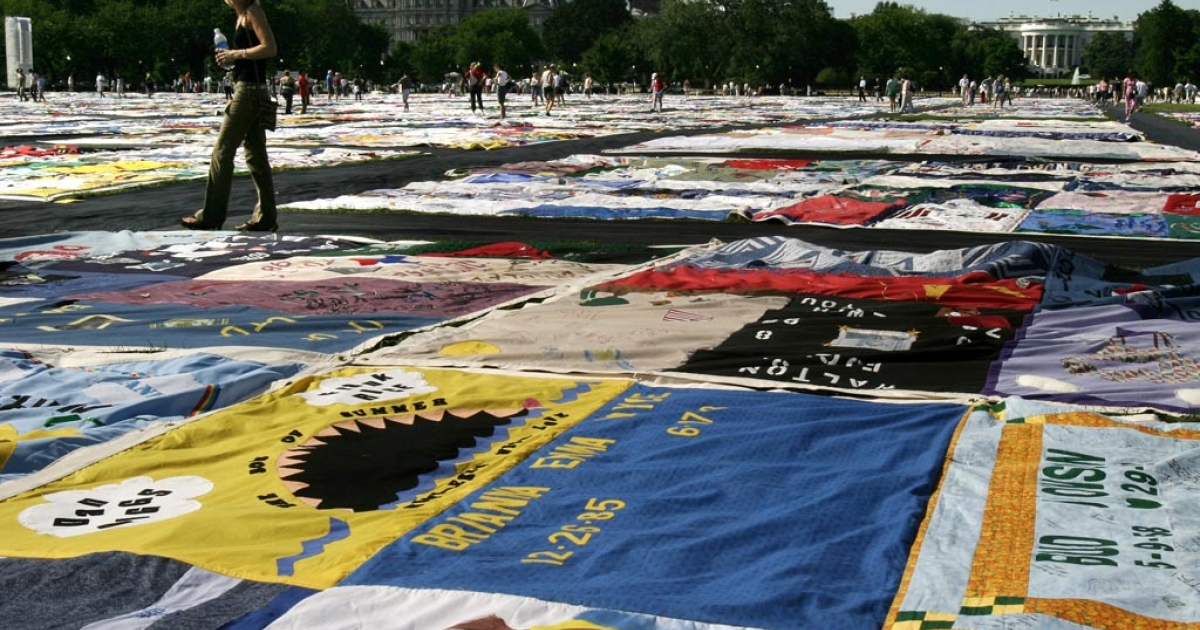 Blocks of The Aids Memorial Quilt are displayed in Washington, DC.</p>