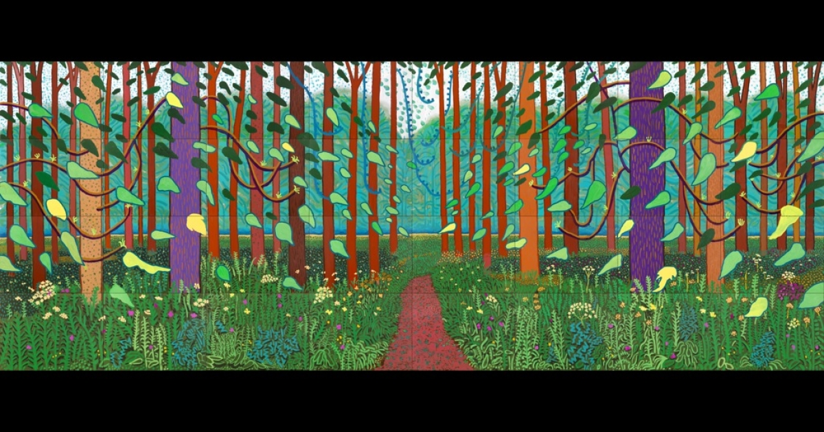 The Arrival of Spring in Woldgate, East Yorkshire in 2011 by David Hockney.  Painted in oil on 32 canvases (each 91.4 x 121.9 cm) It is the culmination of 52 pictures created on the 75 year old artist's iPad.</p>