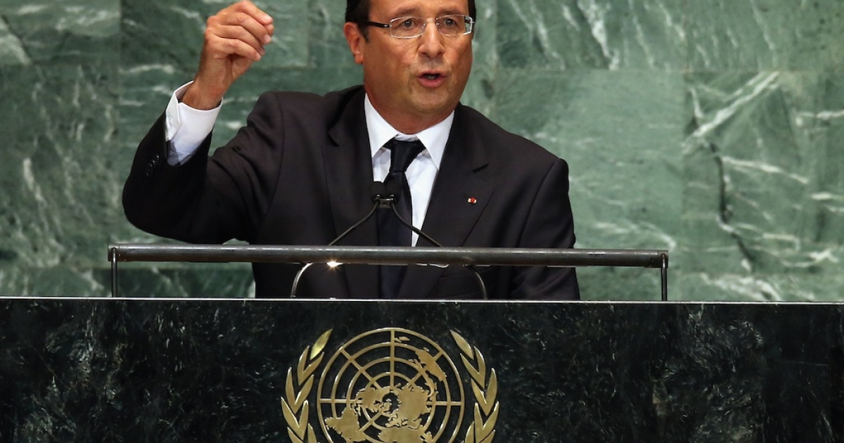 French President François Hollande addresses the UN General Assembly meeting on September 25, 2012 in New York City.</p>