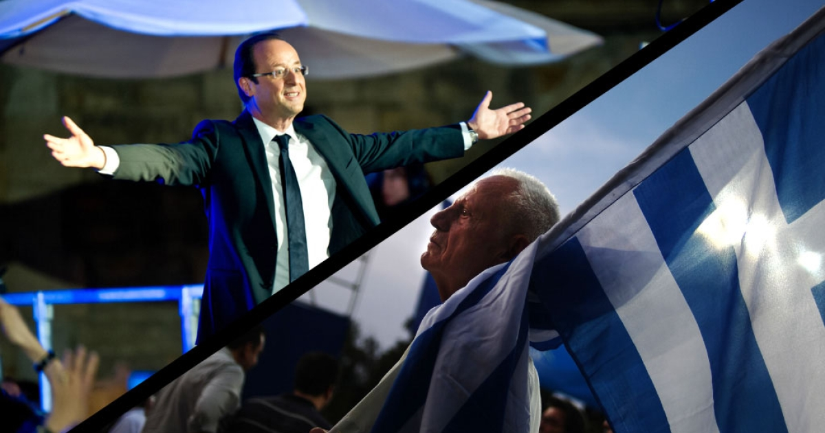 A composite photo of French President-Elect Francois Hollande (top left) celebrating victory in the place de la Cathedrale on May 6, 2012 in Tulle, France and supporters of Greek's conservative party gathering in Athens leading up to Sunday's vote. Many Greeks have been fed up with grinding austerity drives and are seeking out parties promising to scrap deals with the EU and IMF.</p>