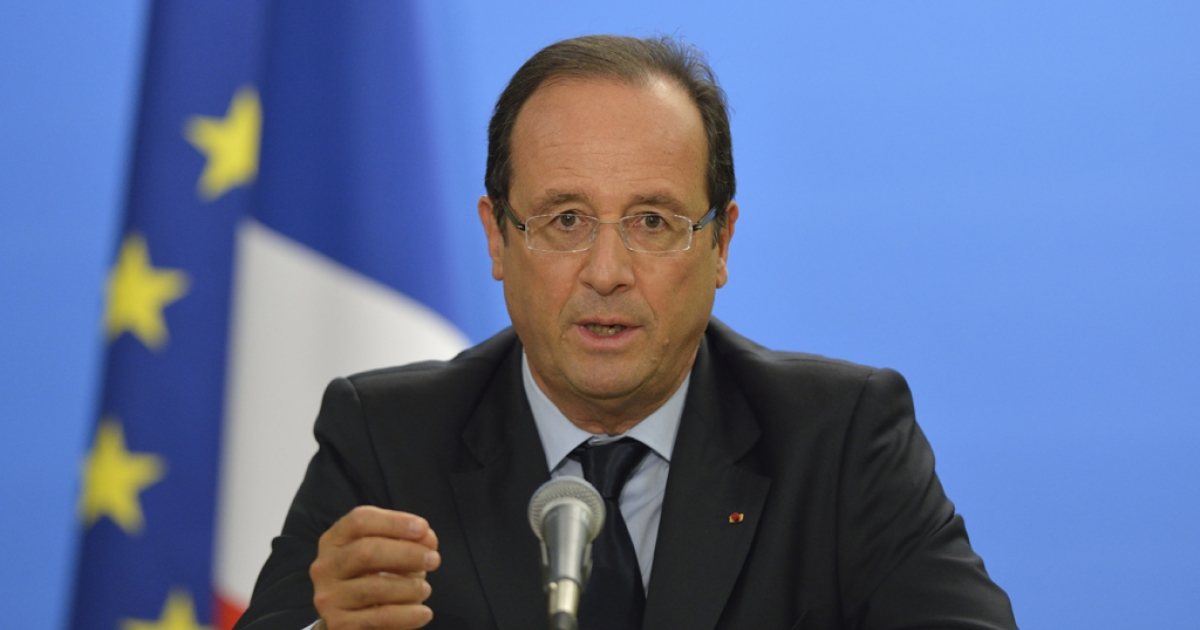 French President Francois Hollande gives a press conference after a high level event on the Sahel at the UN building on September 26,2012 during the UN General Assembly in New York.</p>