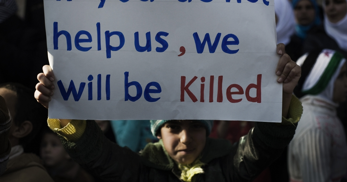 A young boy holds up a sign during an anti-regime demonstration in the Syrian village of al-Qsair, 25 km southwest of the flashpoint city Homs, on February 3, 2012.</p>