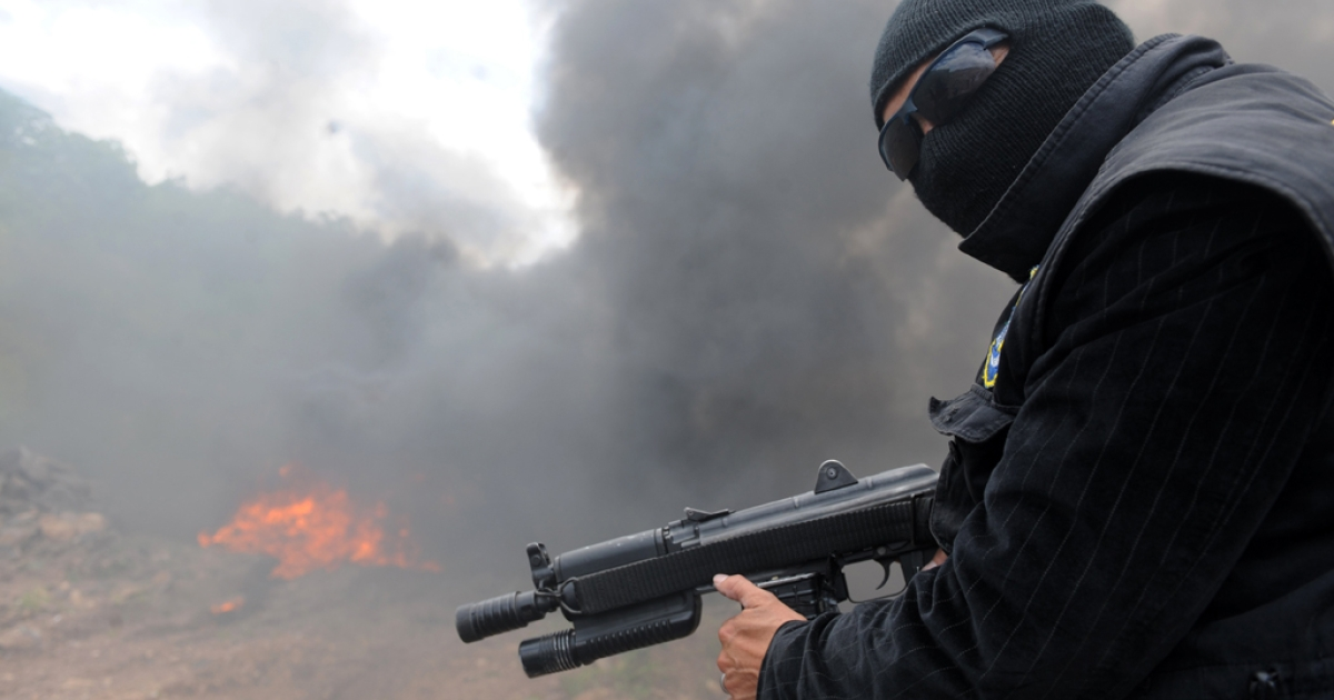 A Honduran counternarcotics policeman stands watch during the incineration of nearly half a ton of cocaine seized in a joint operation with US DEA agents in Honduras.</p>