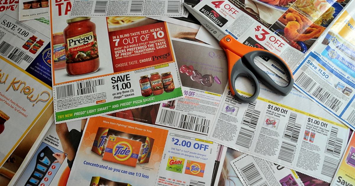 Coupons from the advertising section of the Sunday newspaper on Sept. 13, 2011, in Washington, D.C. Honey — a new extension on Google Chrome — is a coupon company that surfs the web for discounts at the exact moment you're checking out of an e-commerce store.</p>