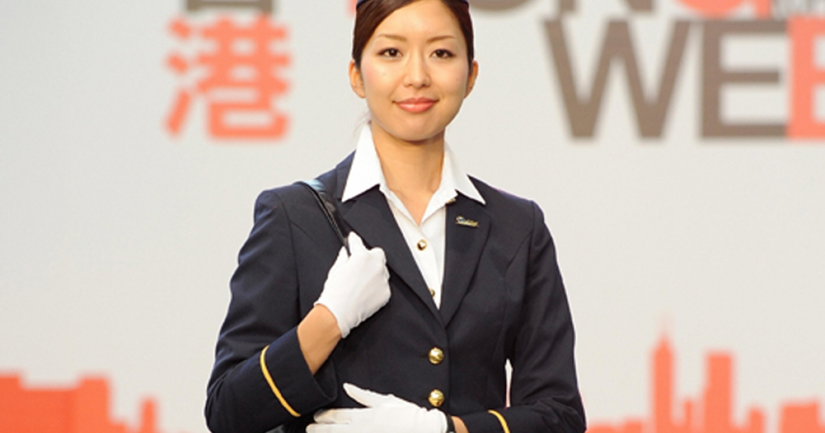 She just looks nice. Hong Kong Airline flight attendants are all being trained in kung fu.</p>