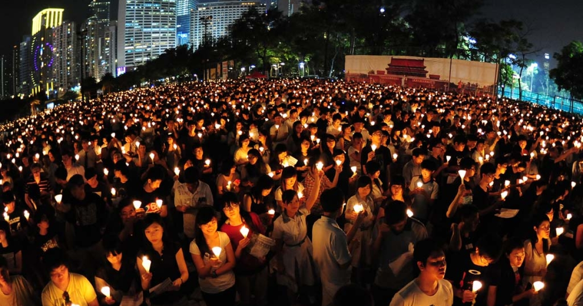 Candlelight vigil in Hong Kong on June 4, 2012 to mark the 23rd anniversary of the crackdown on the pro-democracy movement in Beijing's Tiananmen Square.</p>