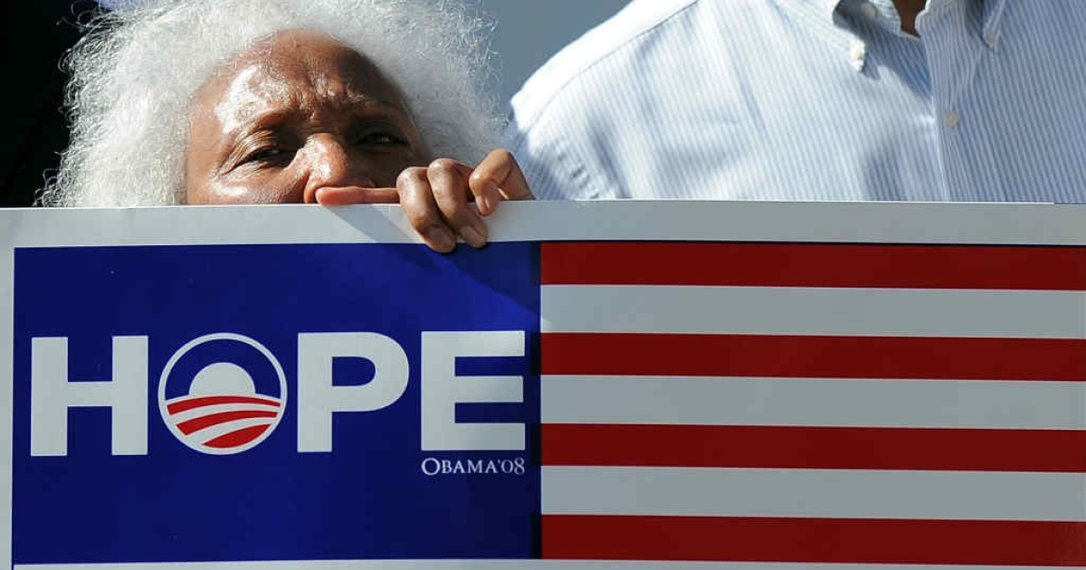 This election, it's all about winning voter's hearts. An elderly supporter of US President Barack Obama joins others to cheer near a house where Obama held a campaign event in Los Angeles this June.</p>