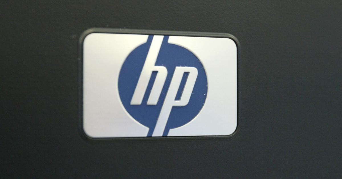 The Hewlett-Packard logo.</p>