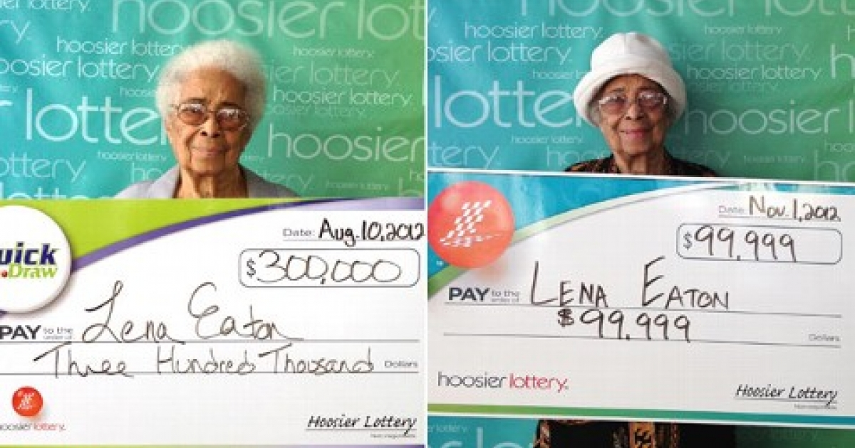 Lena Eaton claims her winnings at Hoosier Lottery Headquarters</p>