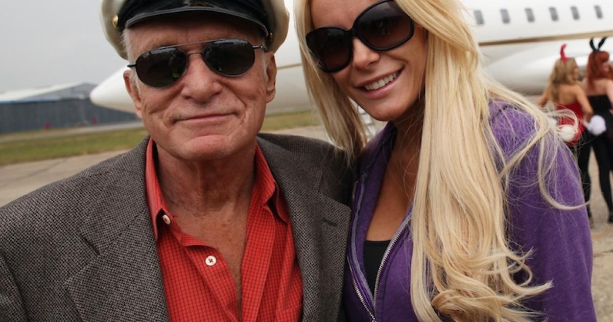 STANSTED, ENGLAND - JUNE 02:  Playboy founder Hugh Hefner arrives at Stansted Airport on June 2, 2011 in Stansted, England. Hefner, 86, and Crystal Harris, 26, married at the Playboy mansion on December 31, 2012.</p>