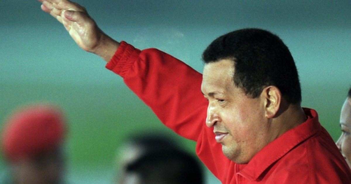 Hugo Chavez salutes his people.</p>