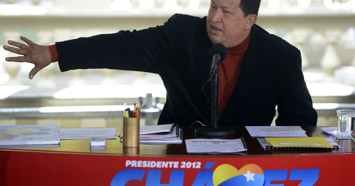 Venezuelan President Hugo Chavez talks during a press conference in Caracas on Sept. 5, in the final stretch ahead of the Oct. 7 election.</p>