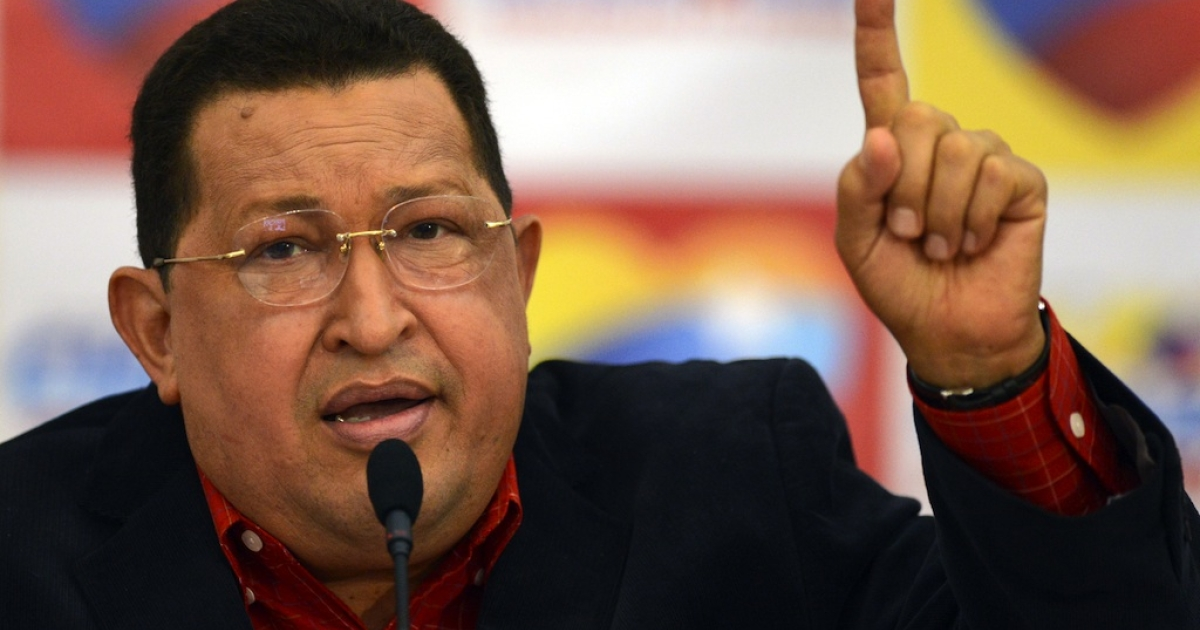 Venezuelan President Hugo Chavez speaks during a press conference in Caracas on July 9, 2012.</p>