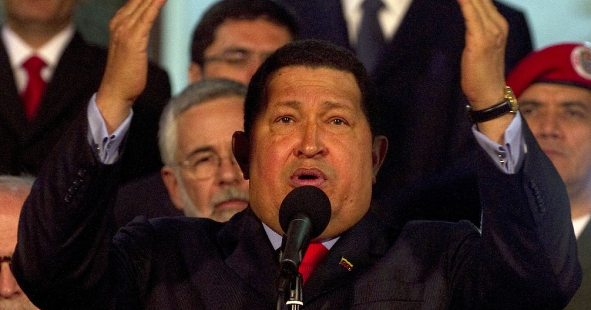 President Hugo Chavez speaks after receiving a Brazilian delegation in the Miraflores presidential palace in Caracas on July 25, 2012.</p>