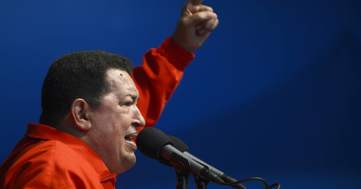 Venezuelan President Hugo Chavez addresses supporters during a campaign rally in view to the upcoming presidential election.</p>