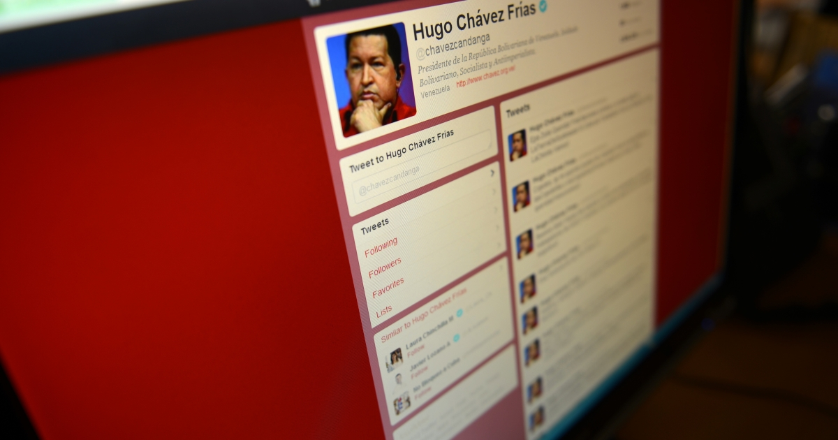Venezuelan President Hugo Chavez's Twitter handle, @chavezcandanga, turned 2 in April, with over 2.8 million followers. Tweets seem to be among Chavez's favorite media on which to announce big government news.</p>