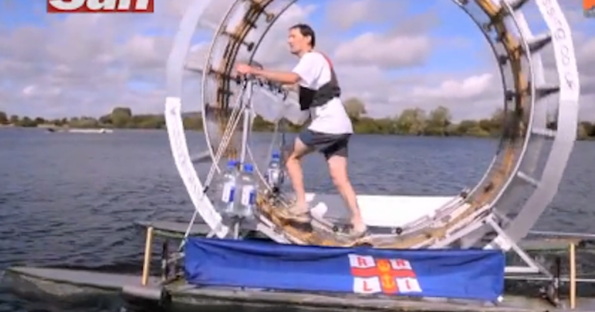 Chrid Todd takes his human hamster wheel, a.k.a. the Tredalo, for a practice run.</p>