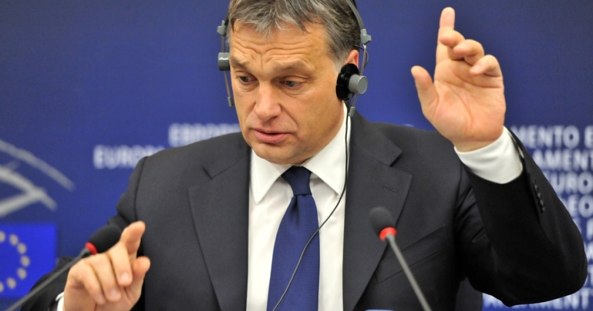 Hungarian Prime Minister Viktor Orban gestures as he gives a press conference, on January 18, 2012 at the European Parliament in Strasbourg.</p>