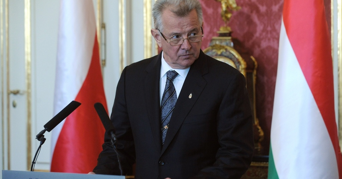 Hungary's President Pal Schmitt giving a statement to the press in Budapest on Mar. 22, just days before Semmelweis University began proceedings to strip Schmitt of his doctorate for plagarism.</p>