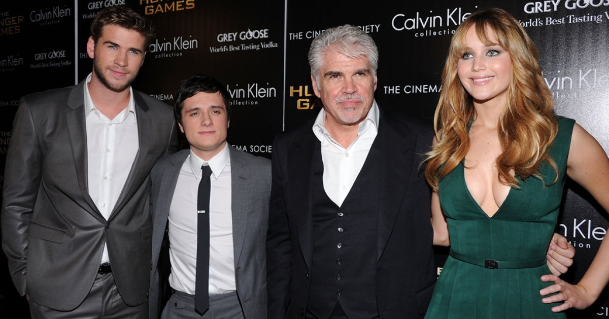 Liam Hemsworth, Josh Hutcherson, Director Gary Ross and Jennifer Lawrence attend the Cinema Society & Calvin Klein Collection screening of