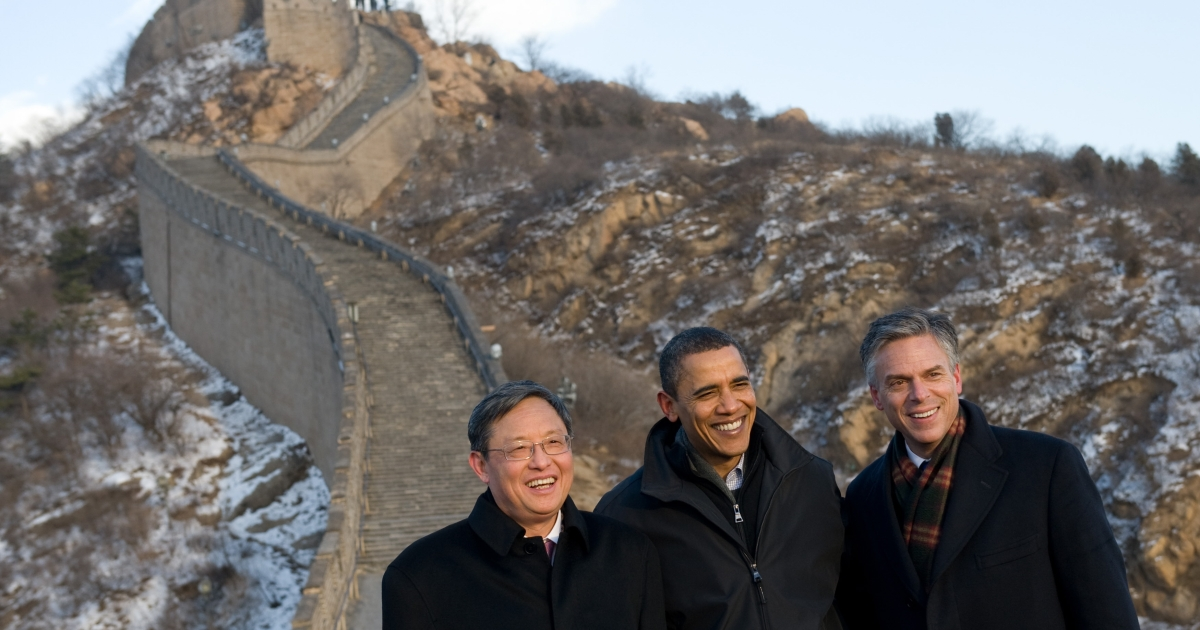 John Huntsman, US Ambassador to China at the time, with US President Barack Obama and Chinese Ambassador to the US Zhou Wenzhong. At the Great Wall of China in Badaling, outside of Beijing, China on November 18, 2009.</p>