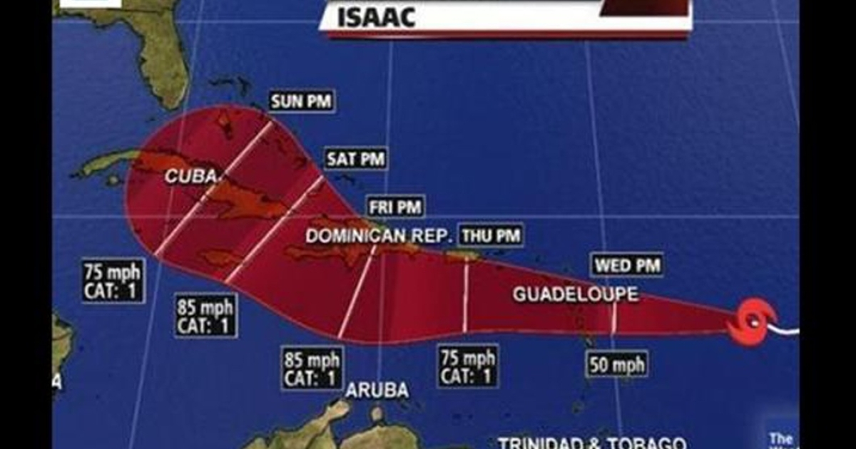 Tropical Storm Isaac on a projected path to Florida. The storm is expected to become a hurricane by Thursday.</p>