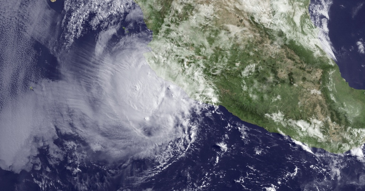 A satellite image taken by the US National Oceanic and Atmospheric Association shows hurricane Bud about 110 miles off the coast of Mexico on May 25, 2012.</p>