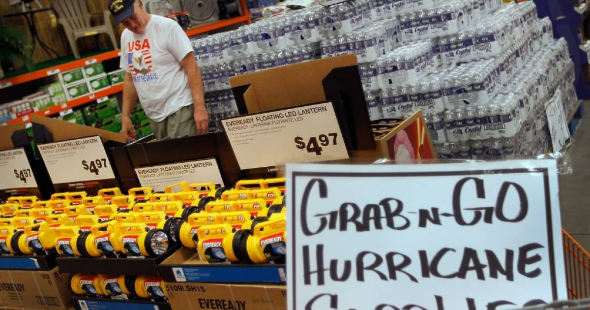 Stocking up on hurricane supplies in West Palm Beach, Florida.</p>