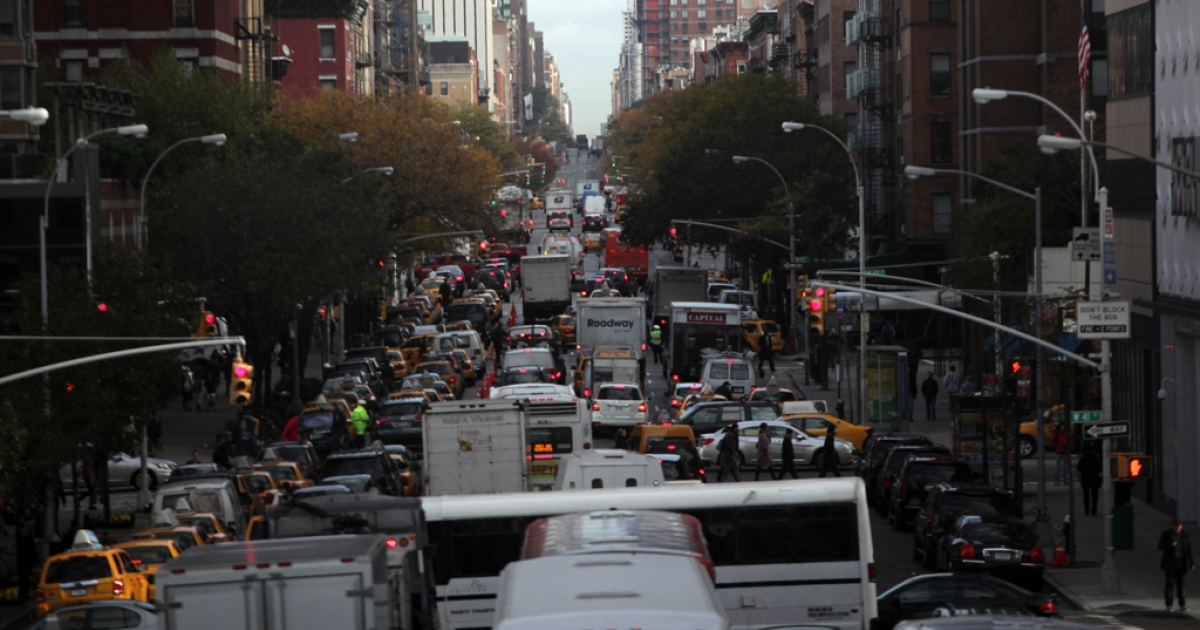 Vehicles sit in traffic on 10th Avenue November 2, 2012 in New York City.</p>