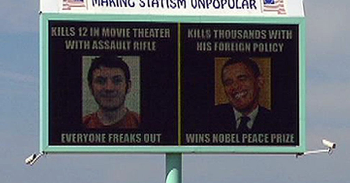 This billboard in Caldwell, Idaho, is drawing criticism for comparing President Obama to Colorado shooting suspect James Holmes.</p>