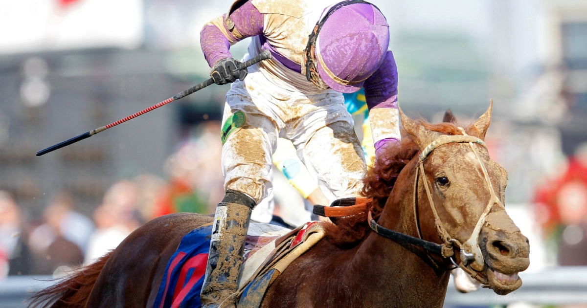 Mario Gutierrez celebrates atop I'll Have Another after winning the 138th running of the Kentucky Derby at Churchill Downs on May 5, 2012, in Louisville, Ken.</p>