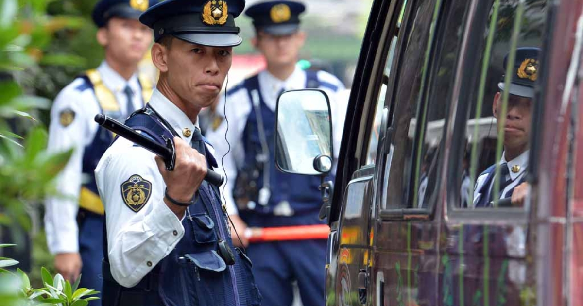 A police checkpoint near the venue for the International Monetary Fund and World Bank Group annual meeting in Tokyo on Oct. 9, 2012.</p>