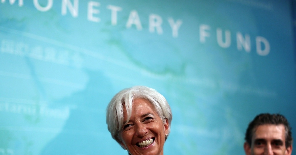 IMF managing director Christine Lagarde smiles during a news conference on July 3, 2012 in Washington, DC.</p>