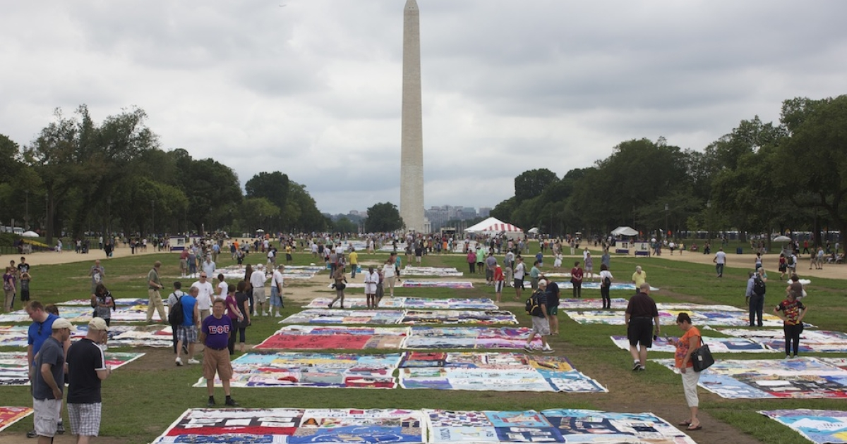 The AIDS quilt blankets the National Mall ahead of the international AIDS conference.</p>