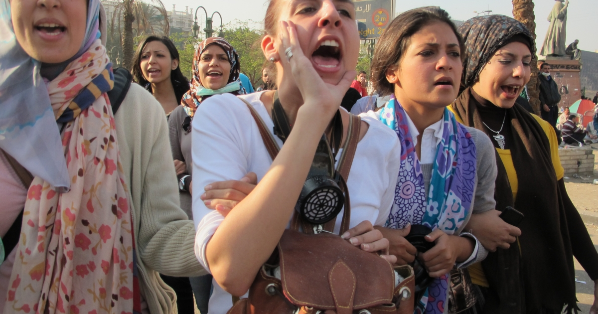 Women protesters marched onto Mohamed Mahmoud chanting
