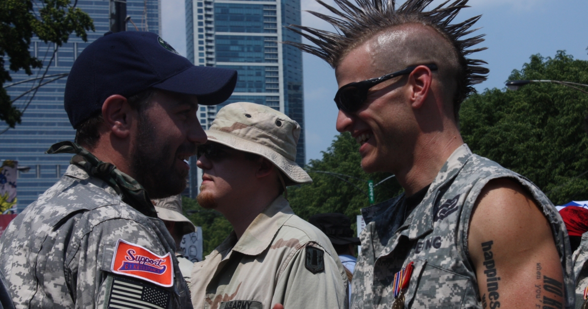 Veterans in Chicago prepare to march against NATO ahead of throwing their war medals across a fence behind which world leaders were meeting.</p>
