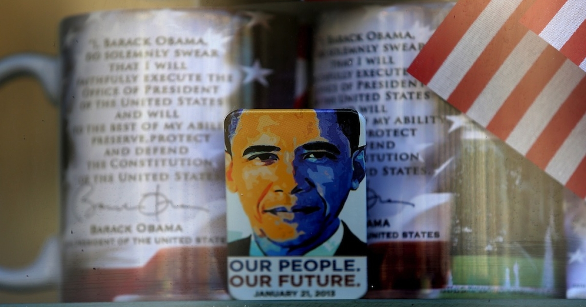 A gift shop displays presidential memorabilia as Washington prepares for President Barack Obama's second inauguration on January 19, 2013 in Washington, DC. The US capital is preparing for the second inauguration of U.S. President Barack Obama, which will take place on January 21.</p>