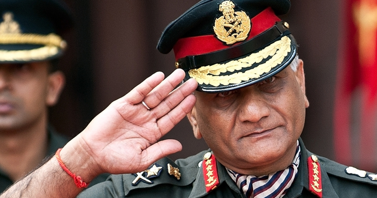 Indian Army Chief Gen. V. K. Singh in New Delhi on April 2, 2012.</p>