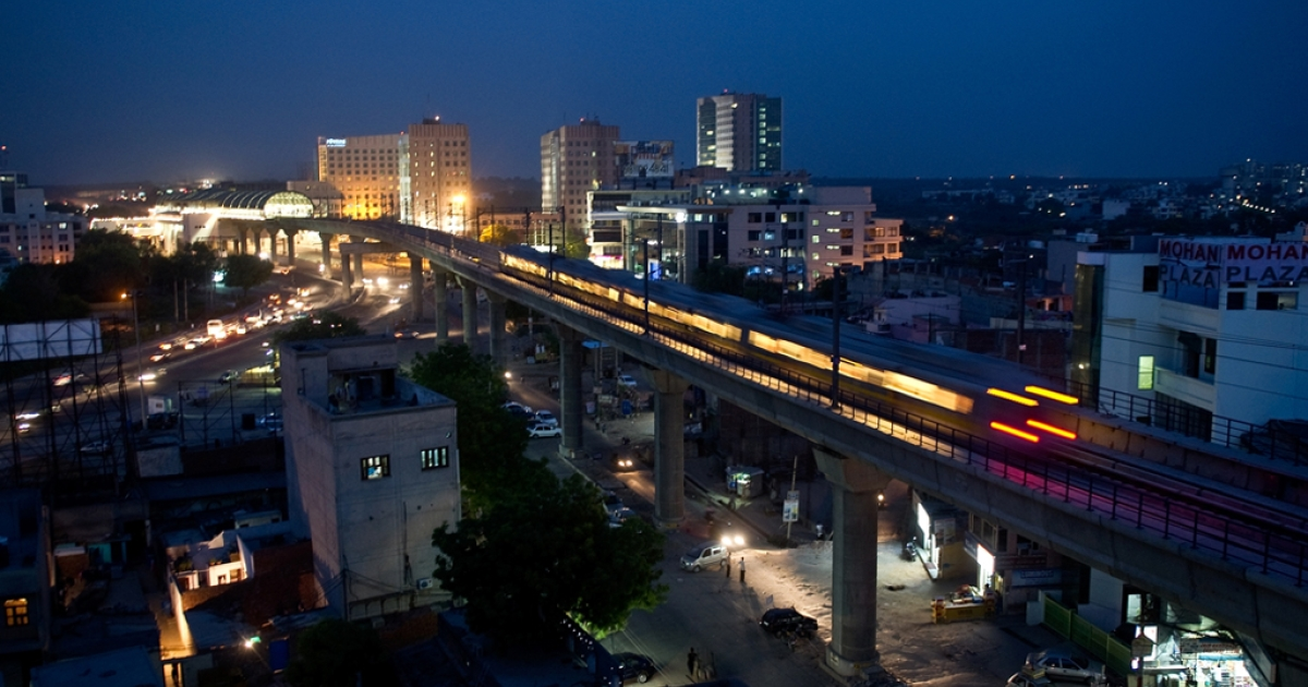 Delhi Metro Rail passes through Gurgaon around 30 km south of New Delhi on June 21, 2010.</p>